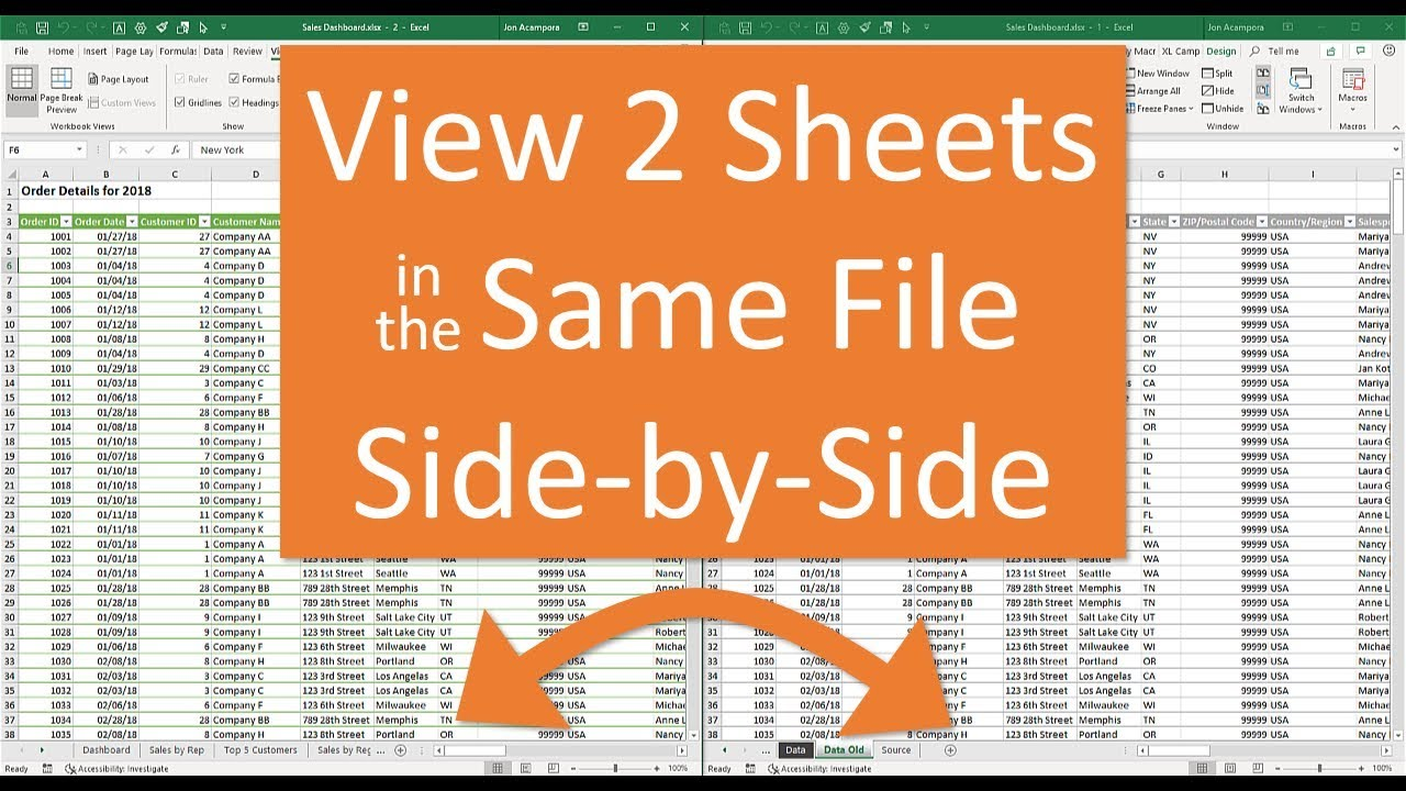 Split Screen function in Microsoft Excel